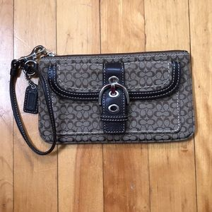 Brown Coach Signature Wristlet